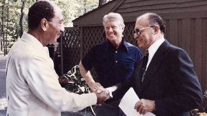 Begin at Camp David in 1978 with Jimmy Carter and Anwar Sadat
