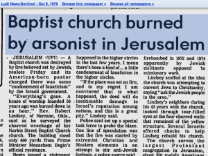 Newspaper clipping from 1970 about Narkis church bombing