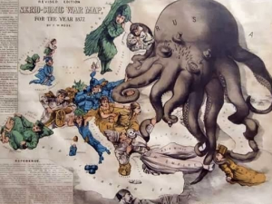 A map shows a Russian imperial octopus devouring Europe