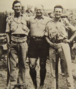 Yitzhak Sadeh (center), Yigal Allon and Moshe Dayan (right)