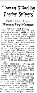 A clipping from 1948 about sniper fire from the Hassan Bek mosque