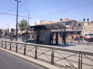 The Shuafat station of the light rail damaged last year (Seth J. Frantzman)