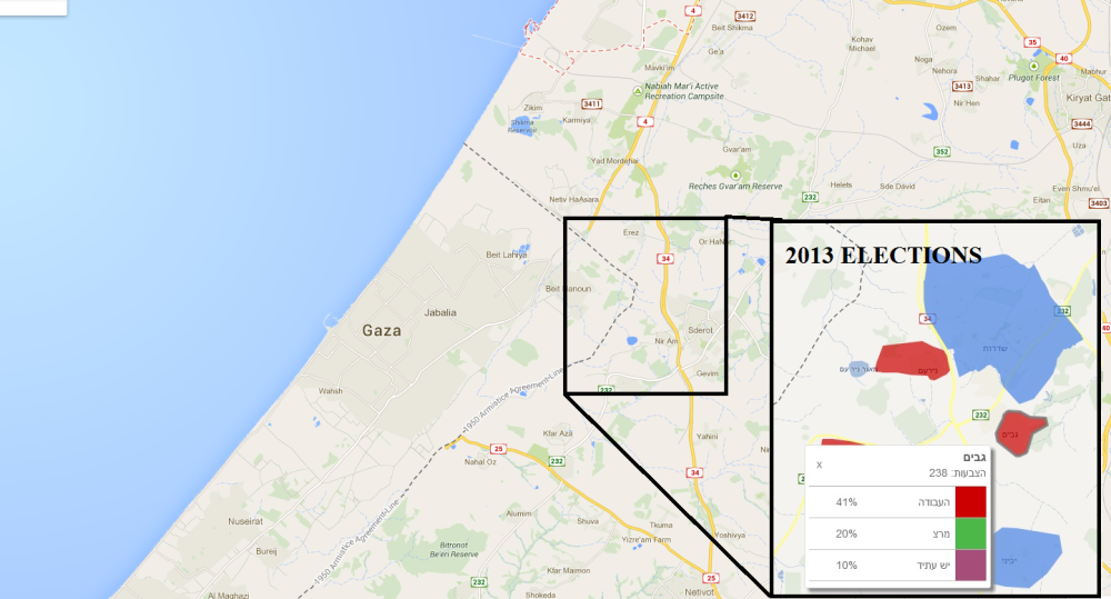Map of Gaza region