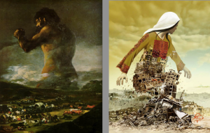 Imad Abu Shtayyah (right) and Goya's artwork