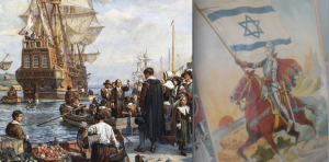 The Mayflower and an early Zionist poster; did the founding generation that served in 1948 feel the state was theirs alone?
