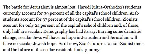 "Shavit's Jerusalem ""lost"""
