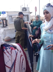 Palestinian women at a checkpoint; do some Palestinians get better treatment because of family connections to Hamas leaders? (Seth J. Frantzman)