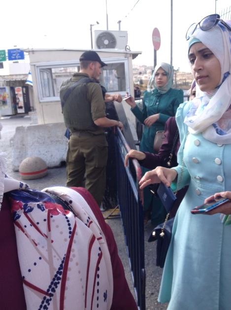 Palestinian women at a checkpoint;  (Seth J. Frantzman)