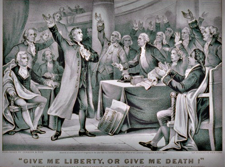 Patrick Henry speaking to the Virginia Convention in 1775