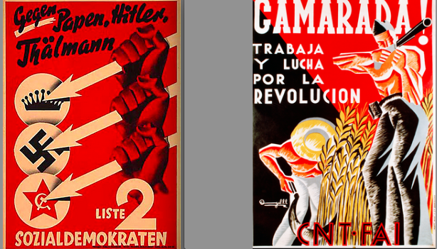 Socialist posters in Europe in the 1930s: Nothing American here.