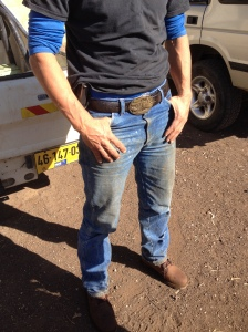 Zerbib sports a Western style belt buckle (Seth J. Frantzman)