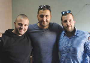 FRIENDS GATHER after Jidan Assad's funeral in Beit Jann. From left: Farid Kazamil, Zeki Saad and Hail Wahbe. (Seth J. Frantzman)