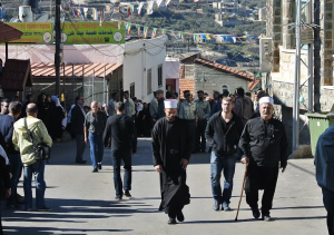 Druze religious men on the way to a funeral (Seth J. Frantzman)