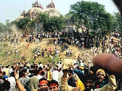 The demolition of the Babri Masjid in 1992