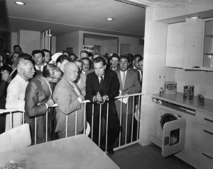 Nakiti Khruschev and Richard Nixon debate the American kitchen