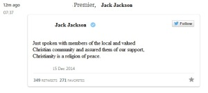 Tweet by a politician
