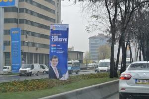 A poster of Ahmet Davutoğlu in Ankara, as the AKP prepares for a party congress (Seth J. Frantzman)