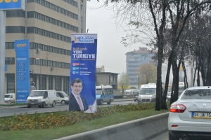 A poster of Ahmet Davutoğlu in Ankara, as the AKP prepares for a party congress (Seth J. Frantzman)