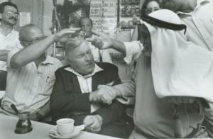 Mayor Teddy Kolleck also found men with khaffiyas convenient for photos