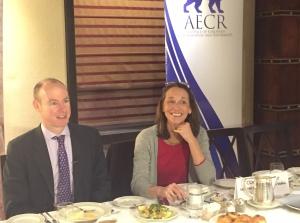 Corinne Sauer of JIMS with MEP Daniel Hannan (Seth J. Frantzman)