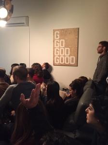 A parlour meeting (Seth J. Frantzman)