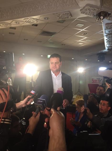 Ayman Odeh in Nazareth on election night (Seth J. Frantzman)