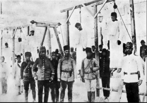 Armenians hung by the Ottomans during the war as part of the wider genocide