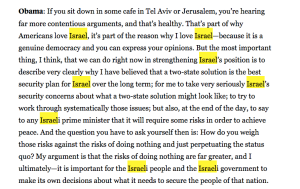 Obama on Israel in 'The Atlantic' interview