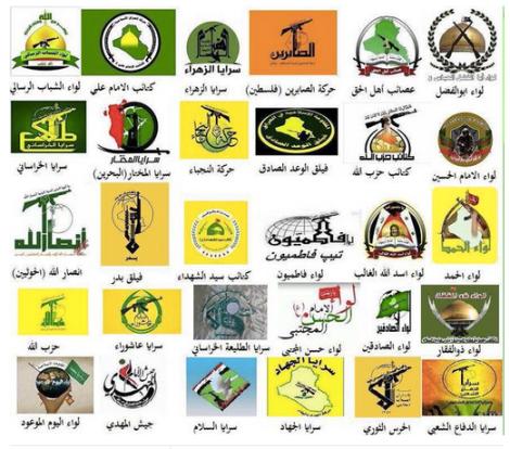 Logos of major Shia militias in the Middle East