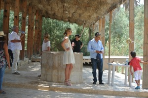 A Jordanian-American family at the baptism site near the new Catholic hostel being built (Seth J. Frantzman)