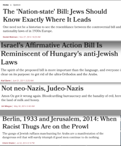 Israel has no shortage of headlines comparing the country to the 1930s (screenshots)