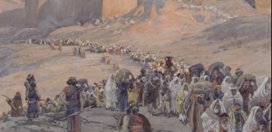 People leaving the Temple, depicted in a 19th century painting by James Tissot