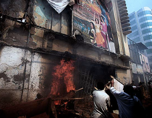 """Pakistani mobs burn movie theaters in 2012 to """"protest"""" an """"anti-Islam"""" home movie made in the US; because in Pakistan when they are """"offended"""" any action can be taken, including murder, and it is acceptable"""
