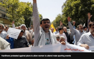 Iran is such a fascist culture that men protest against women watching sports.
