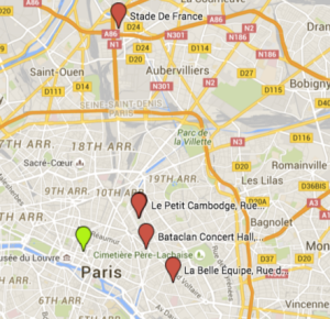 Map of attacks in Paris