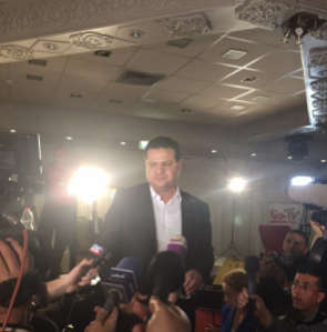 Odeh speaks on election night in Nazareth (Seth J. Frantzman)